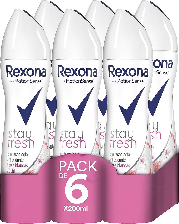 6 desodorantes Rexona Stay Fresh Flores Blancas y Lichi por sólo 11,22€