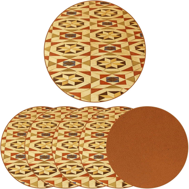 DEYYA Coasters for Drinks Vintage Floor Tile Pattern Print Leather Round Mug Cup Pad Mat for Protect Furniture, Heat Resistant, Kitchen Bar Decor, Set of 6