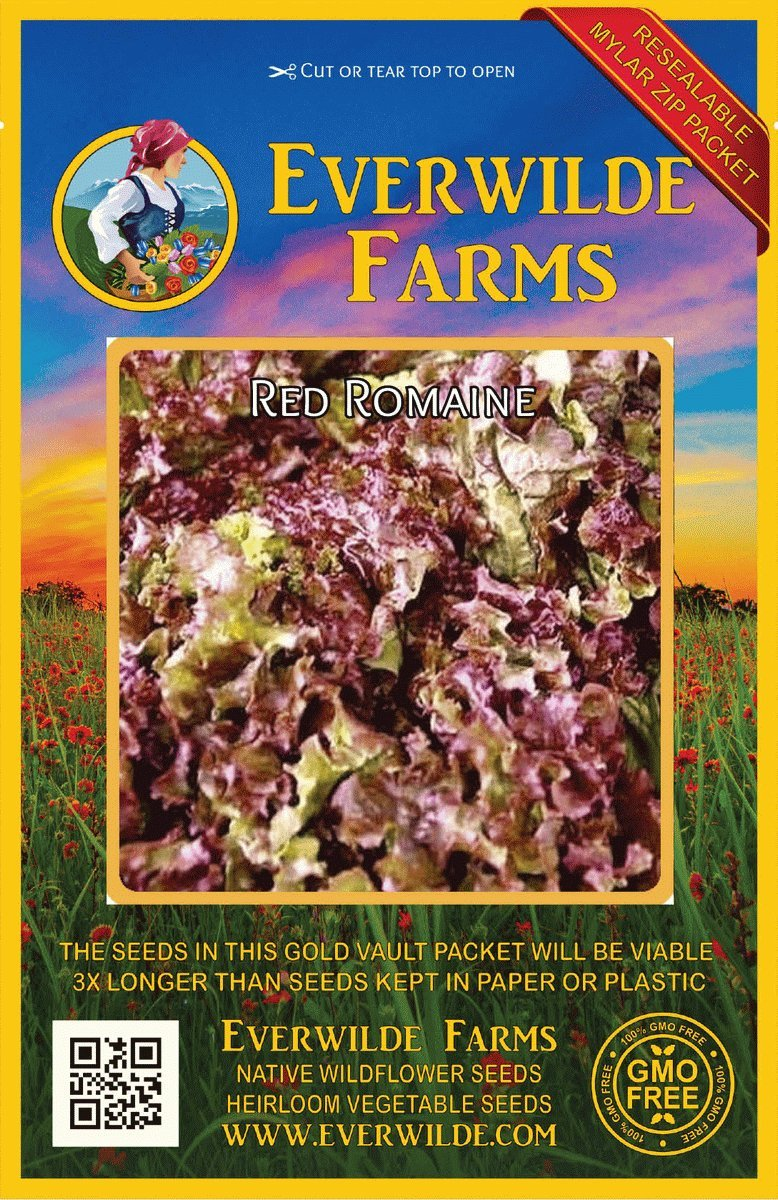 1000 Red Romaine Romaine Lettuce Seeds Everwilde Farms Mylar Seed Packet