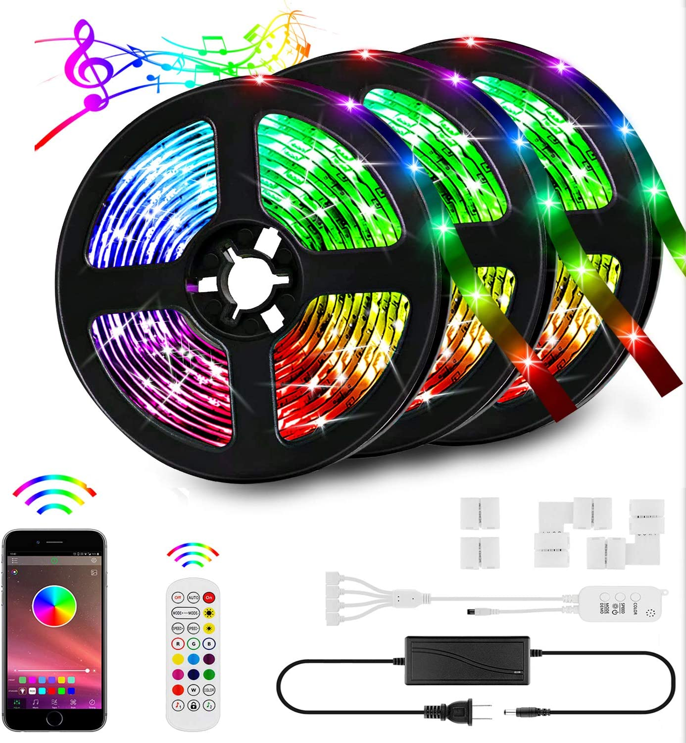 50ft/15M RGB LED Strip Lights Kit, 5050 RGB LED Light Strips, Sync to Music Light, Smart App Controlled LED Strip Light, Bluetooth Controller,Remote LED Lights for Bedroom Home Party(3x16.4FT) (50ft)