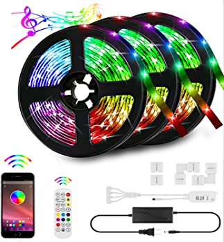 HunHun 50-Foot LED Strip Lights with Bluetooth Controller & Remote