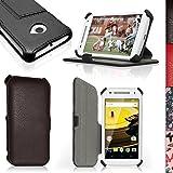 igadgitz Premium Folio Noir Cuir PU Etui Housse Case Cover pour Motorola Moto E 2ème Génération 2015 XT1524 avec Support Multi-Angles + Film de Protection