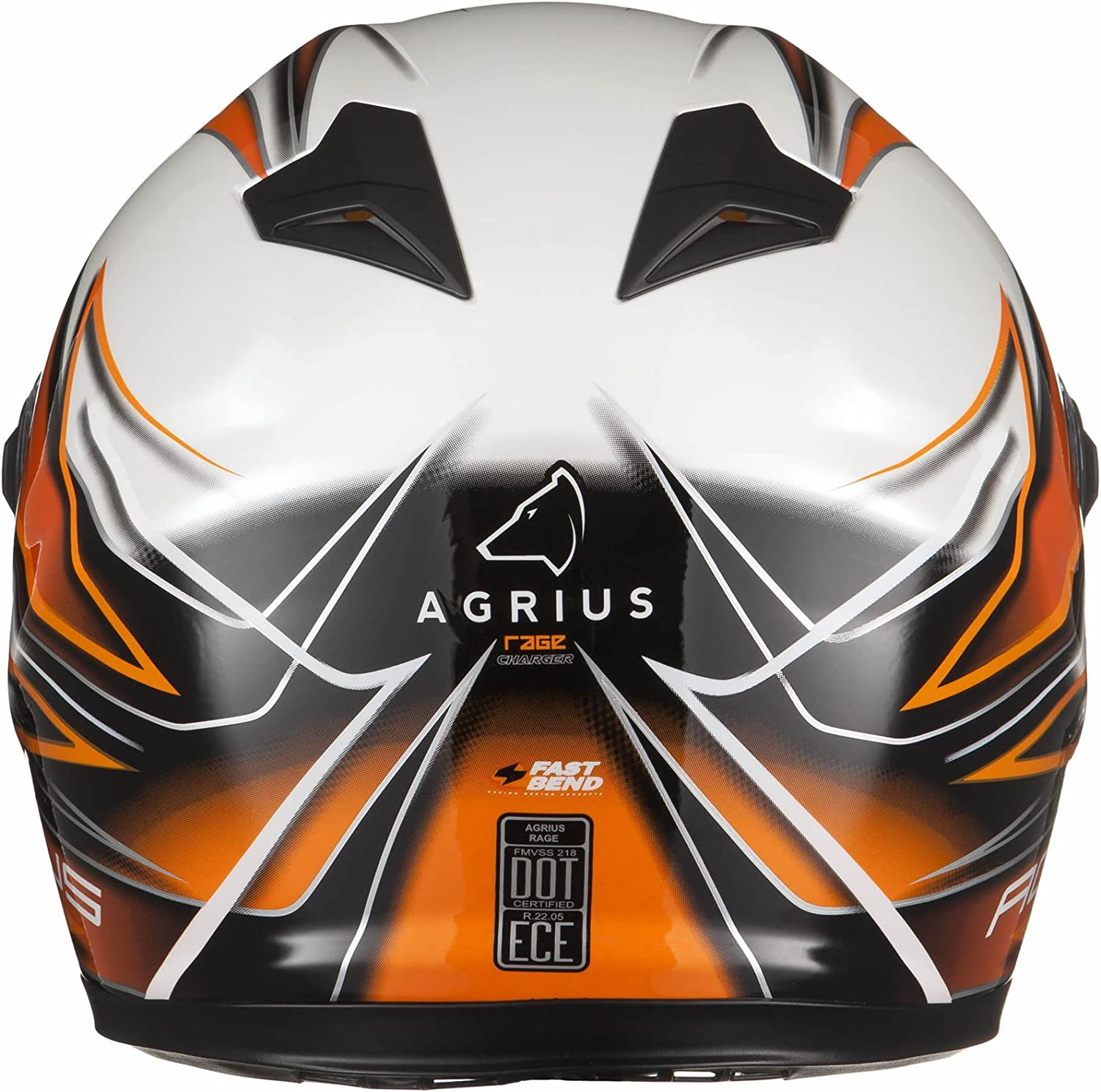 Agrius Rage Charger Motorcycle Helmet XL Gloss Pearl White//Orange
