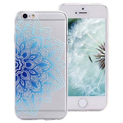 Funda Silicona iPhone 6S Plus, ZXK CO Azul Mandala Flores ...