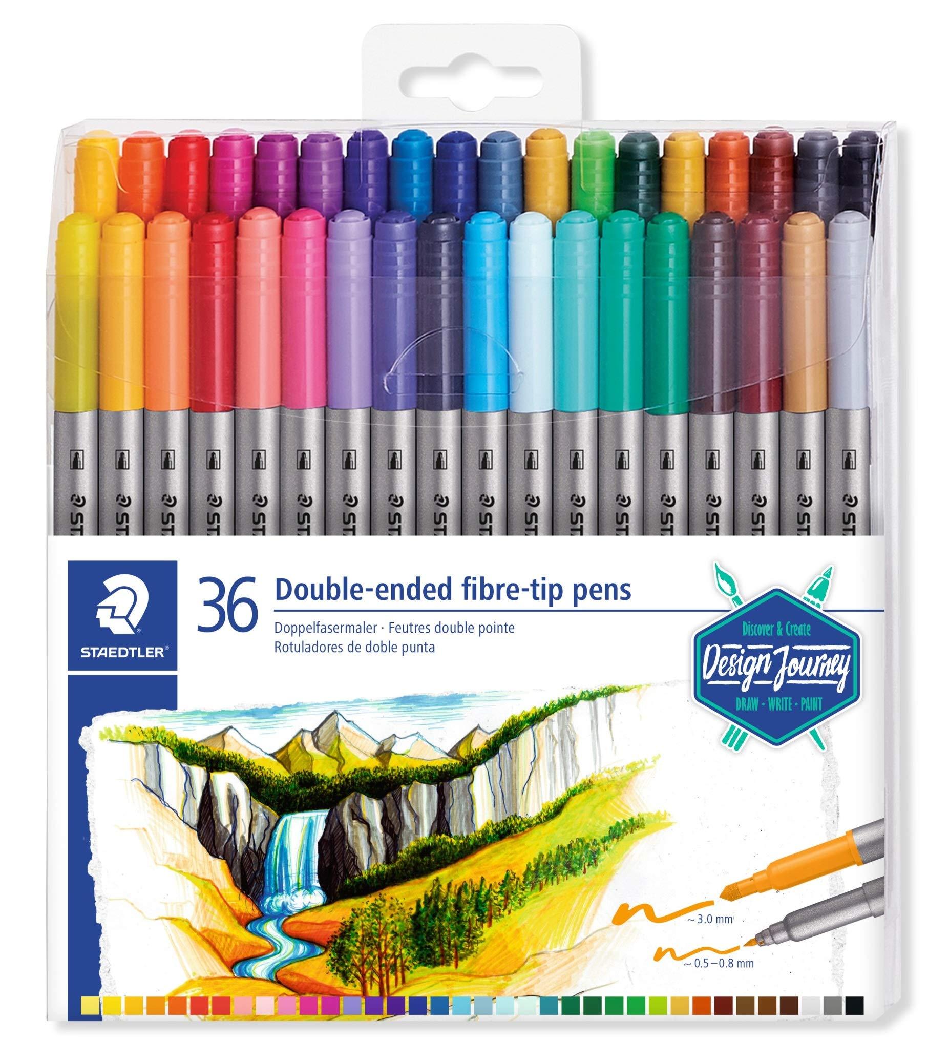 Staedtler 3200 Journey Design Set of 36 Felt-Tip Pens Double Tip 3.0 mm and 0.5 mm - 0.8 mm Assorted Colours