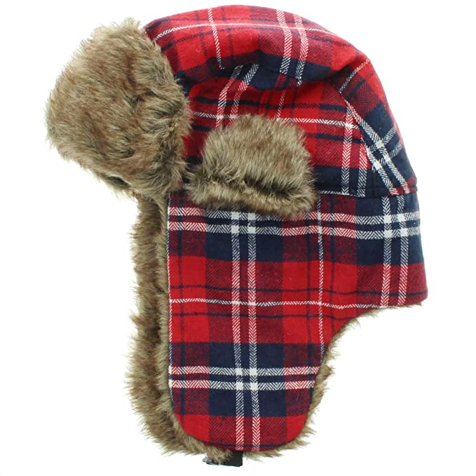e575f2c400bcd Milani Original Trapper Flannel Plaid Pattern Style Hunting Aviator Winter  Hat with Faux Fur and Strap at Amazon Men s Clothing store