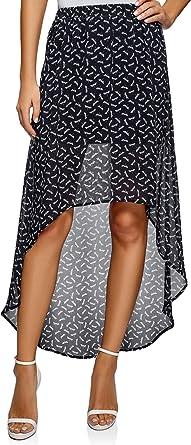 oodji Ultra Mujer Falda de Gasa con Parte Inferior Asimétrica ...