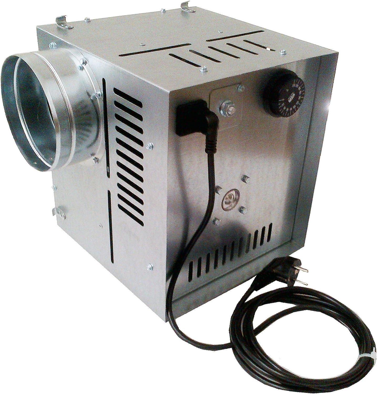 Darco - Ventilador de aire caliente WK AN1, flujo de aire de 400m3/h, diámetro 125mm para la distribución de aire caliente, galvanizado