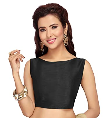 2a6c2dc2db3ea0 Studio Shringaar Women's Poly Raw Silk Sleeveless Saree Blouse (S2080,  Black, ...