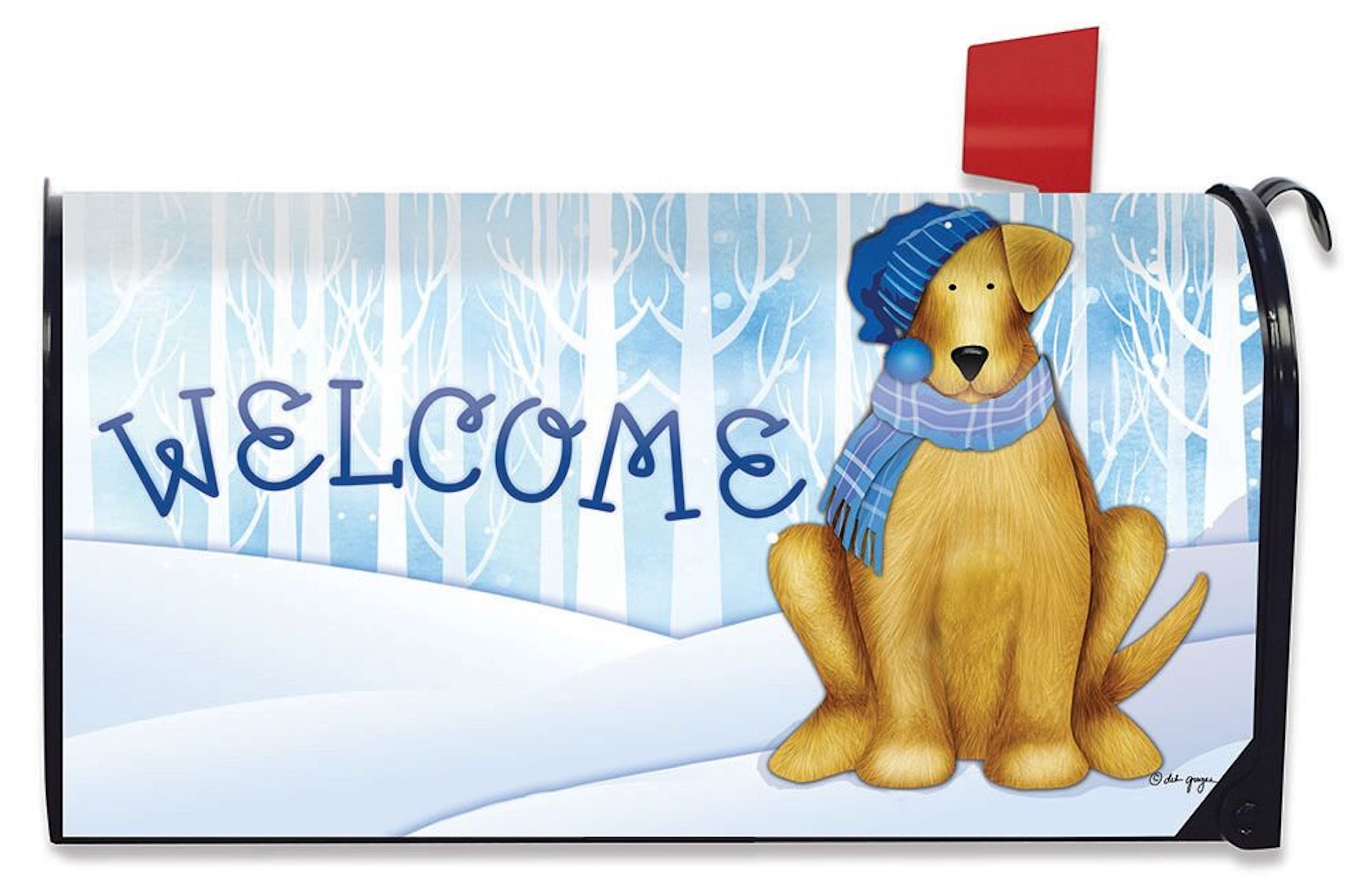 Briarwood Lane Welcome Winter Dog Magnetic Mailbox Cover Scarf and Hat Puppy Standard