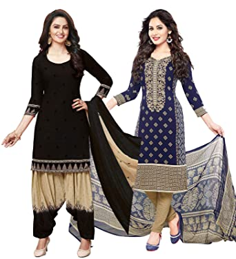 878a925e9e2 Ishin Combo of 2 Multicolor Synthetic Printed Women s Unstitched Salwar  Suits dress material with Dupatta  Amazon.in  Clothing   Accessories