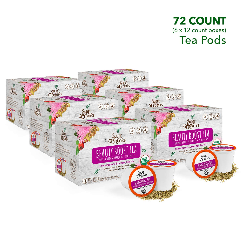 Super Organics Beauty Boost Green Tea Pods With Superfoods & Probiotics | Keurig K-Cup Compatible | Beauty Tea, Skin Care Tea | USDA Certified Organic, Vegan, Non-GMO Natural & Delicious Tea, 72ct by Super Organics (Image #3)
