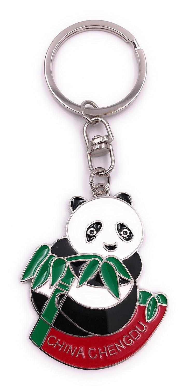 H-Customs China Panda Oso bambú Llavero Colgante de Plata ...