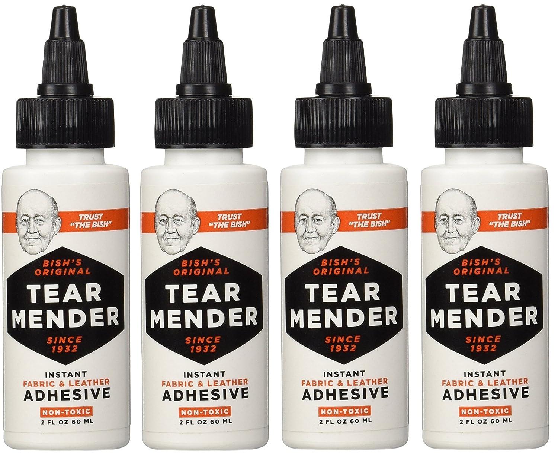Tear Mender TG-2 Bishs oLWVqg Original Tear Mender Instant Fabric and Leather Adhesive, 2 oz (Pack of 4)