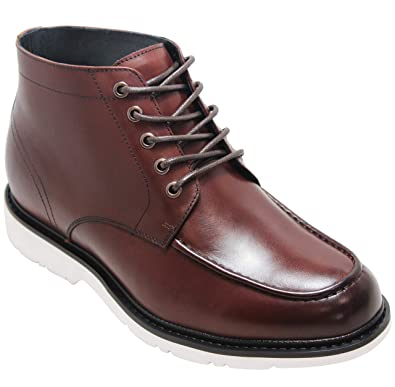 d9376cc1b03c8 CALTO Men's Invisible Height Increasing Elevator Shoes - Dark Brown Leather  Lace-up Mid-