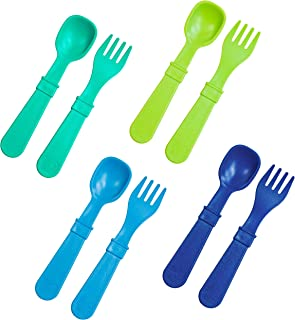 product image for RE-PLAY Made in The USA 8pk Toddler Feeding Utensils Spoon and Fork Set |Eco Friendly Recycled Milk Jugs - Virtually Indestructible | Sky Blue, Aqua, Lime Green, Navy (Under The Sea+)