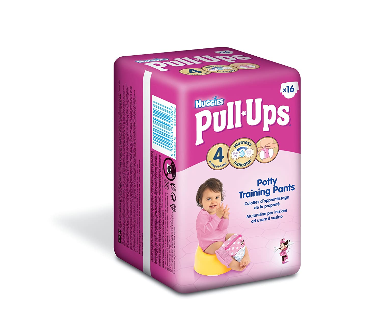 Huggies Pull Ups Potty Training Pants for Girls - Small (8-15 kg), 16 x 6 Packs (96 Pants) Kimberly-Clark 2817571 02817601