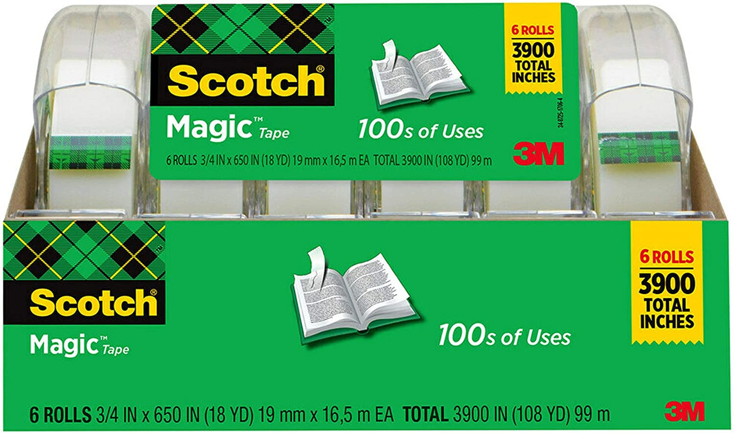 Scotch Magic Tape, 6 Rolls, Numerous Applications, Invisible, Engineered for Repairing, 3/4 x 650 Inches, Boxed (6122) : Office Products