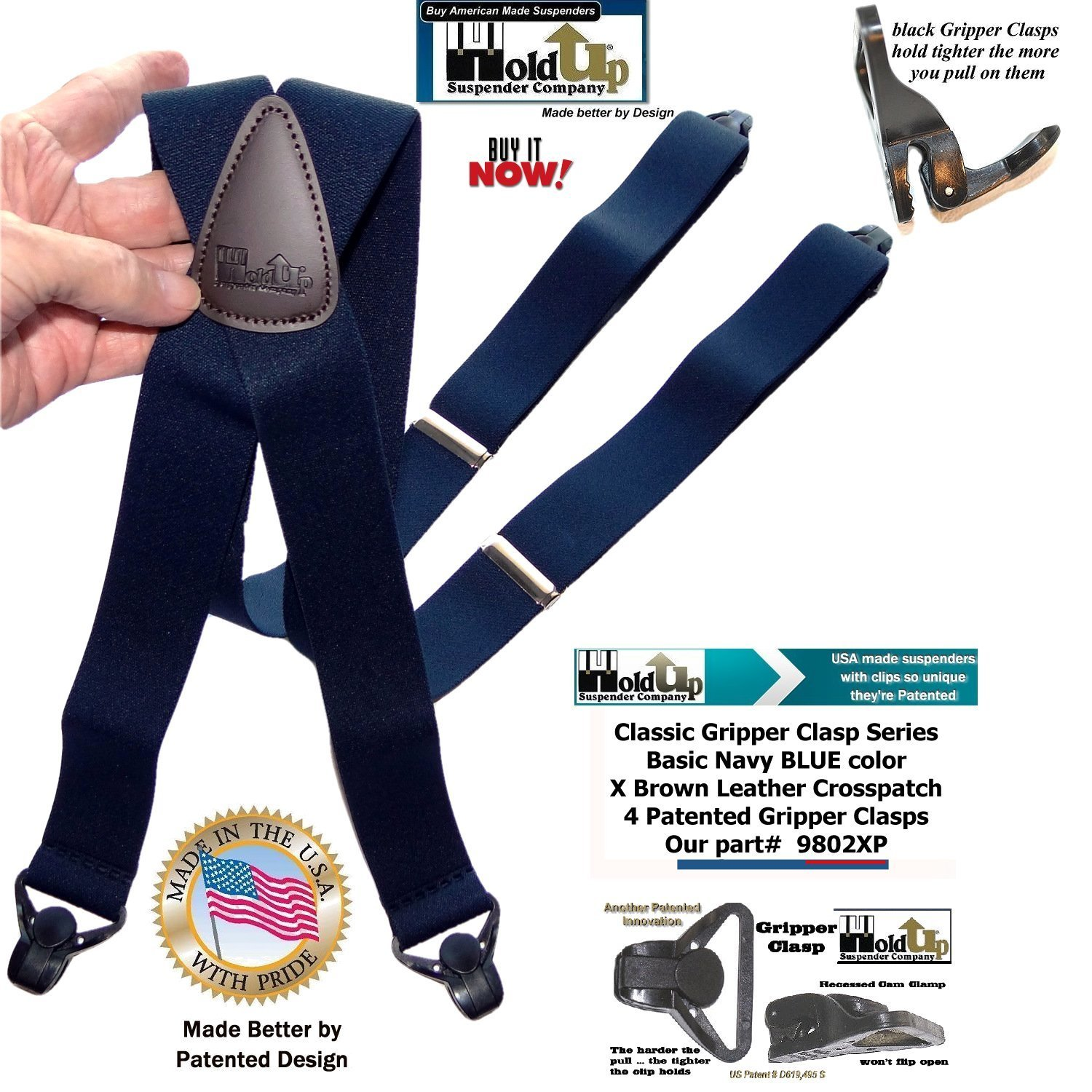 Holdup Classic Series Basic Blue X-Back Suspenders with patented black Gripper Clasp