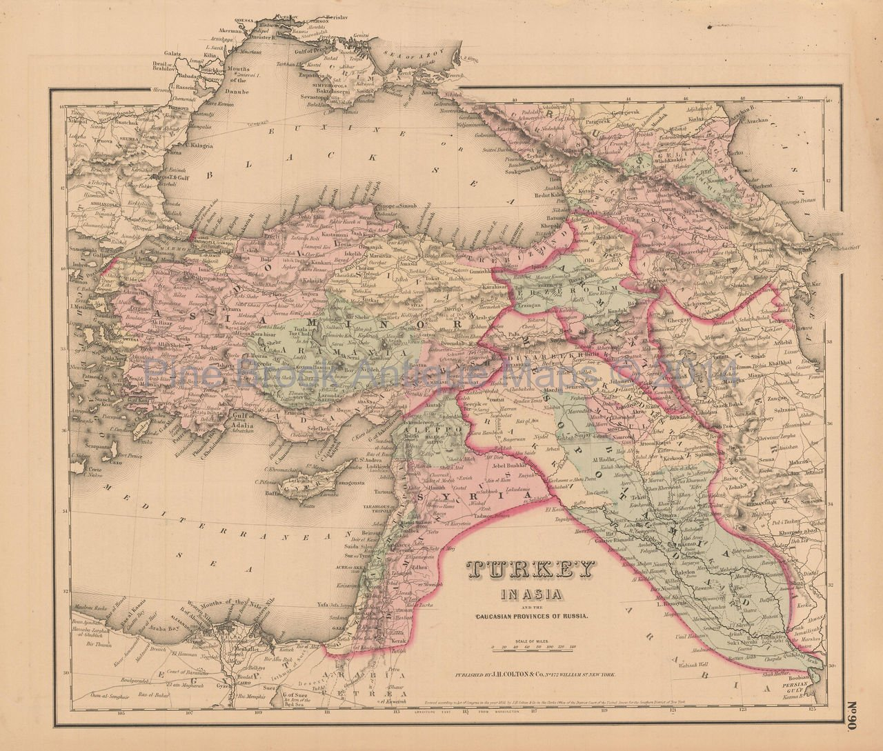 Turkey Middle East Antique Map Authentic Middle Eastern Decor