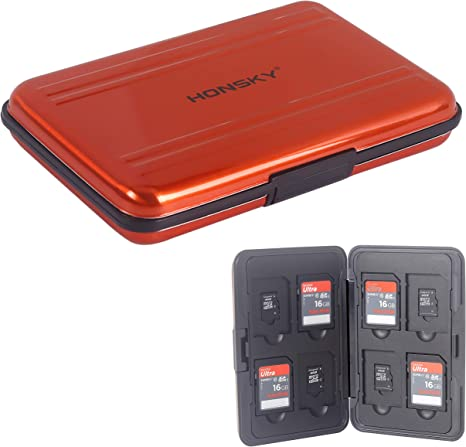 Estuche para tarjeta SD, soporte de aluminio para tarjetas SD, tarjetas Micro SD, SDHC SDXC TF UHS-I, color naranja: Amazon.es: Electrónica