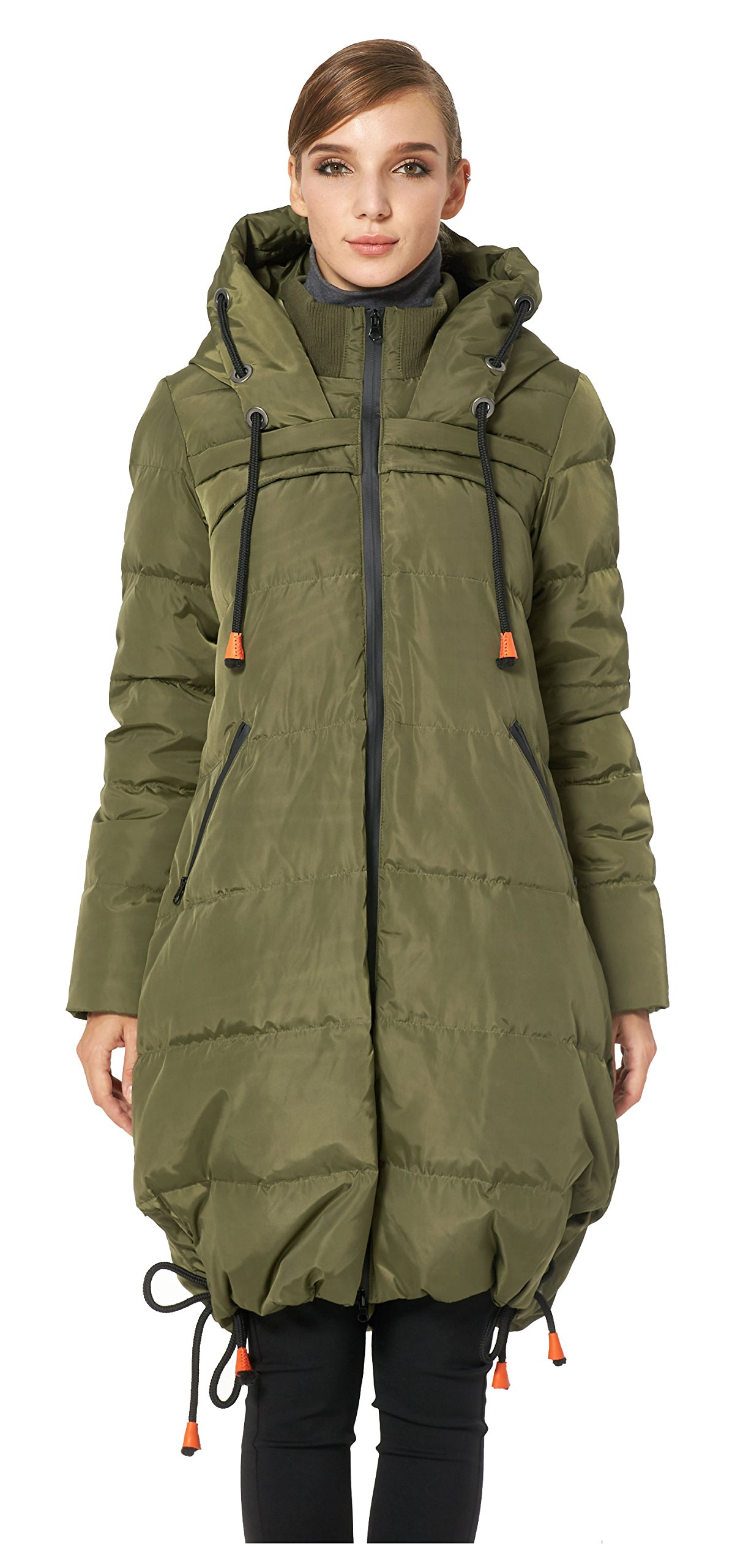 Orolay Women's Thickened Contrast Color Drawstring Down Jacket Hooded ArmyGreen S by Orolay (Image #3)