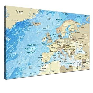 LanaKK – Europakarte Leinwandbild mit Korkrückwand zum pinnen der ...