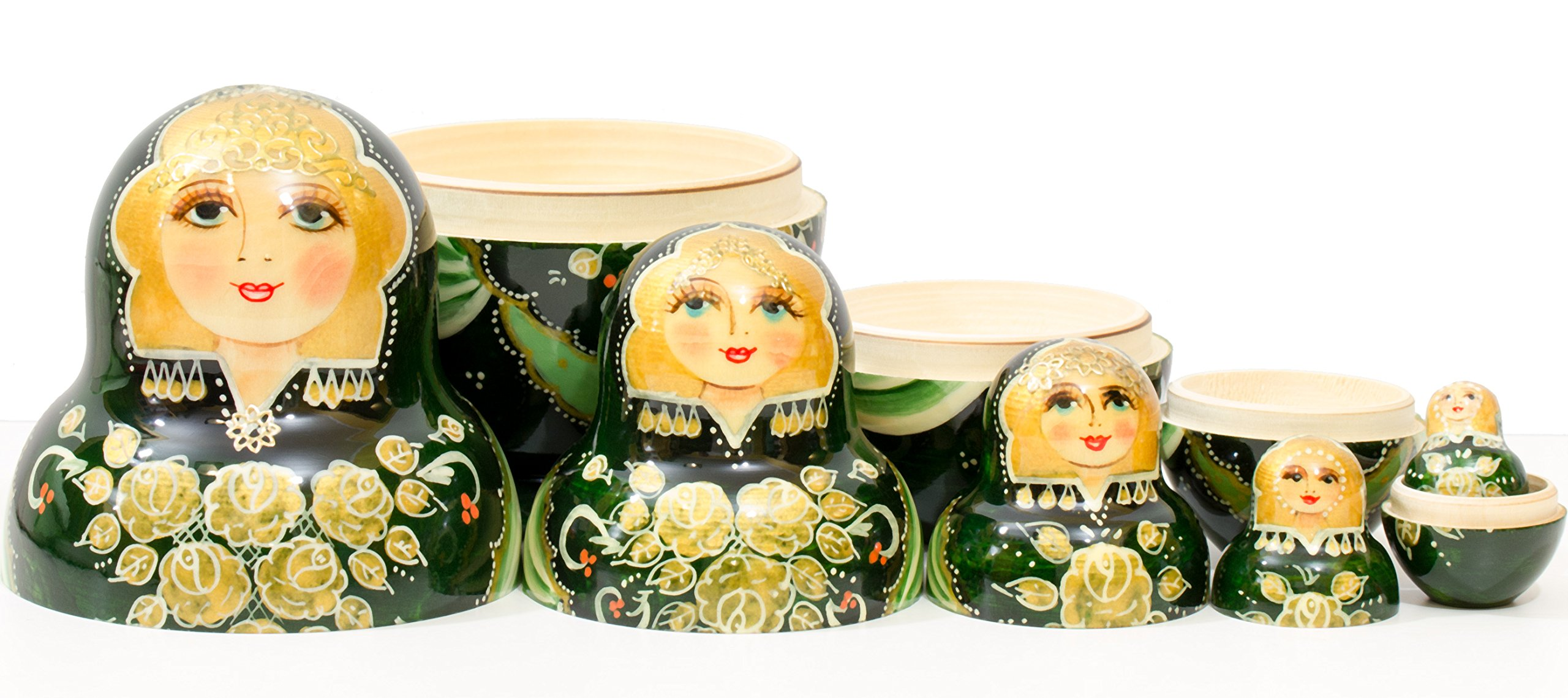 Russian Nesting Doll - Anastasia - Hand Painted in Russia - Traditional Matryoshka Babushka (6``(5 Dolls in 1), Green) by craftsfromrussia (Image #4)