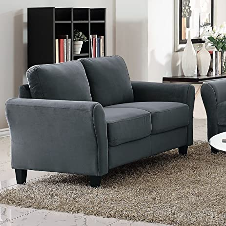 Pearington Coffeen Microfiber Living Room Loveseat Sofa Chair, Dark Grey