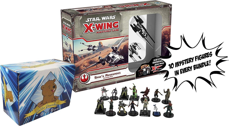 Star Wars X-Wing miniaturas Juego Saws Renegades Expansión Pack - 10 Mystery Star Wars Figuras y Golden Groundhog Caja de Almacenamiento Incluido Vendido de SCATS: Amazon.es: Juguetes y juegos