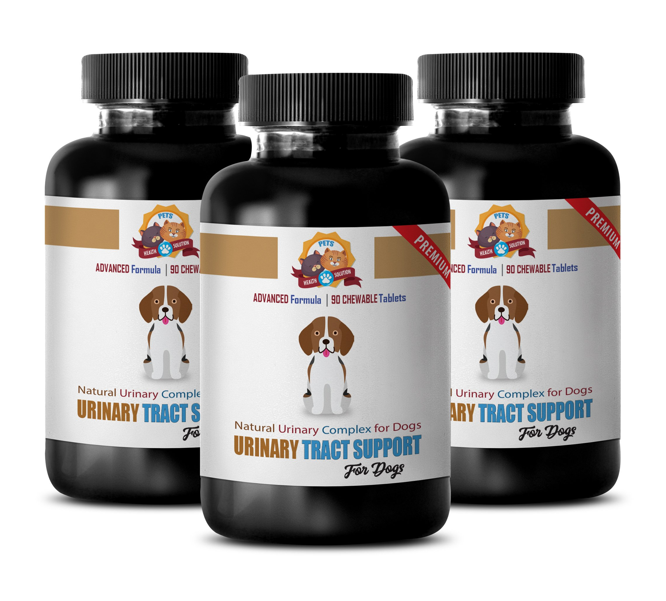 PETS HEALTH SOLUTION dog urinary diet - NATURAL URINARY TRACT SUPPORT - DOG TREATS - PREMIUM ADVANCED COMPLEX - dog uti supplement - 270 Treats (3 Bottle) by PETS HEALTH SOLUTION