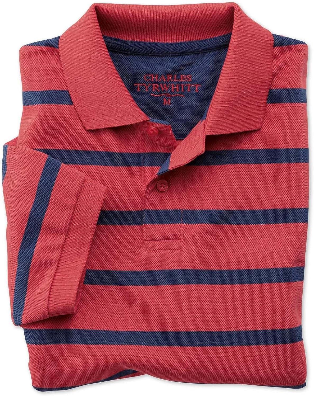 Charles Tyrwhitt piqué-camisa Polo Classic Fit de rayas rojo ...