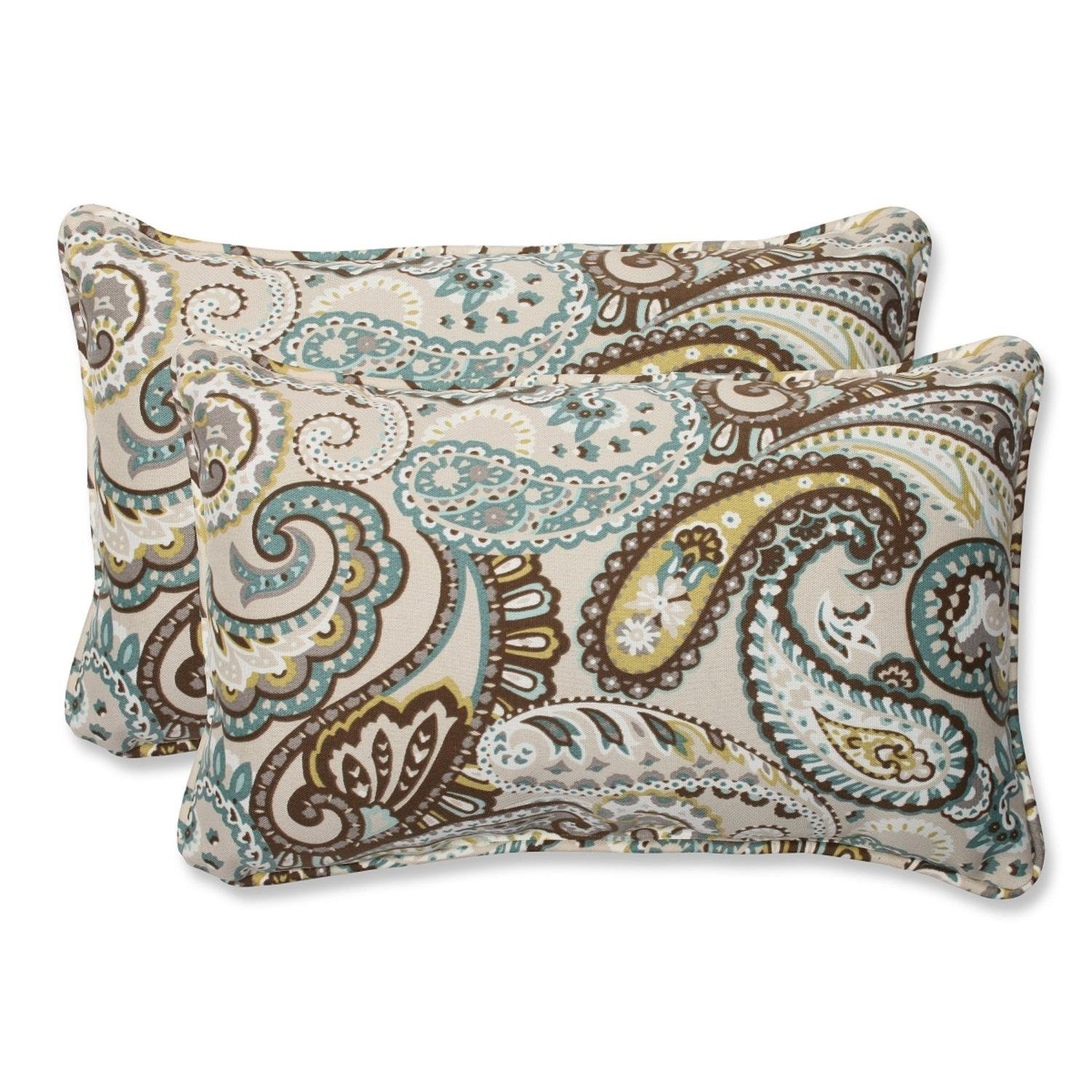 Amazon.com   Set of 2 Paisley Giardino Light Blue and Brown Outdoor Corded Throw  Pillows 18.5