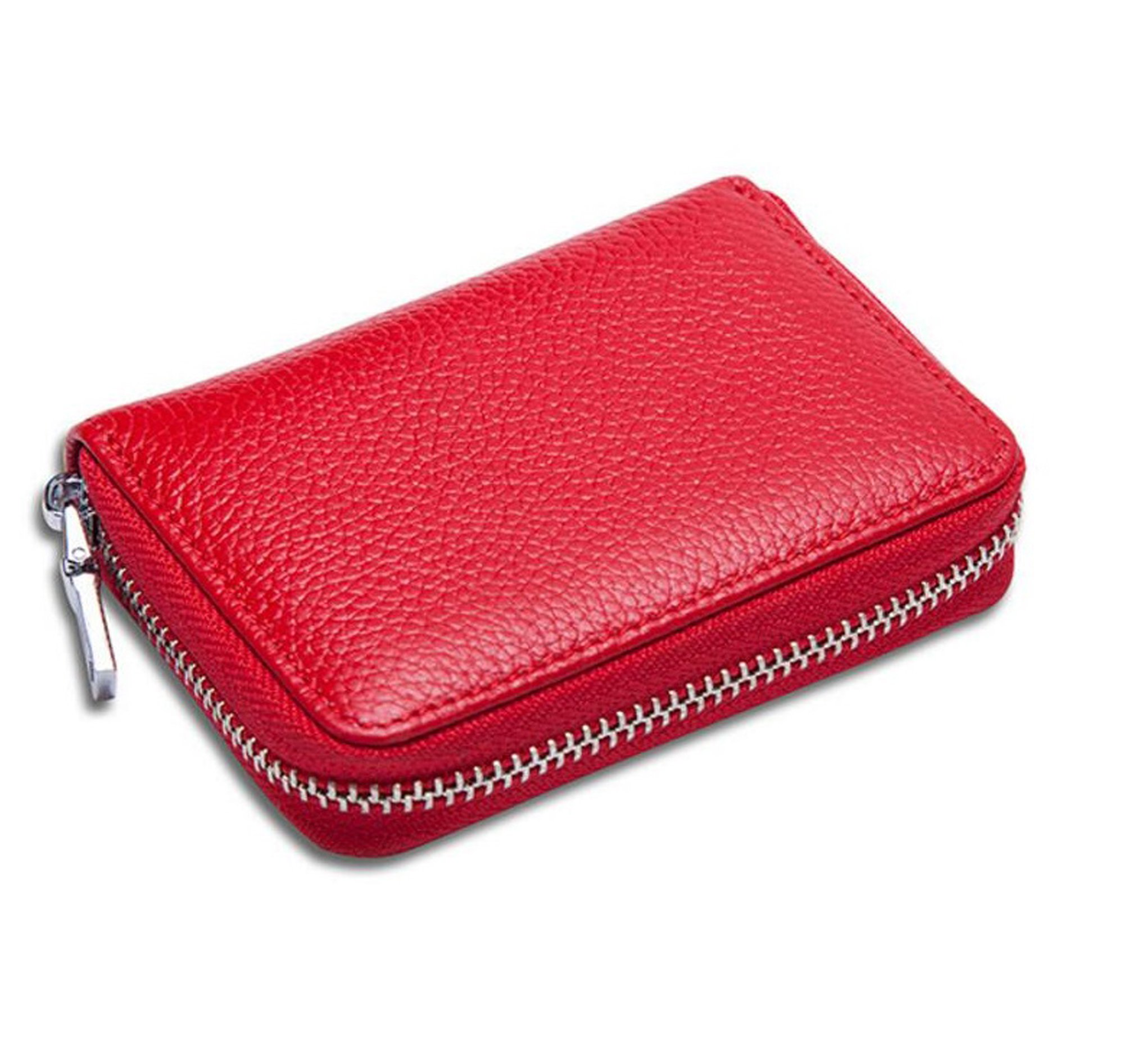 RFID Blocking Leather Credit Card Case Holder Security Small Accordion Wallet with Zipper(Red)