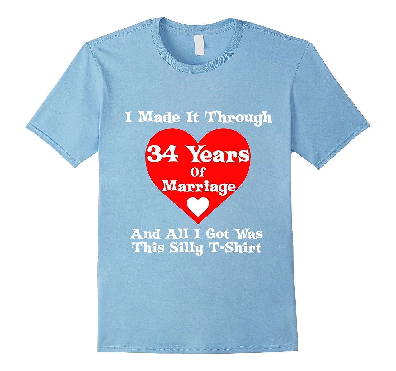 34th Wedding Anniversary Gift Marriage T-Shirt for Men Women-TH