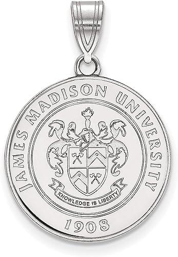 James Madison University JMU Dukes School Crest Pendant in Sterling Silver