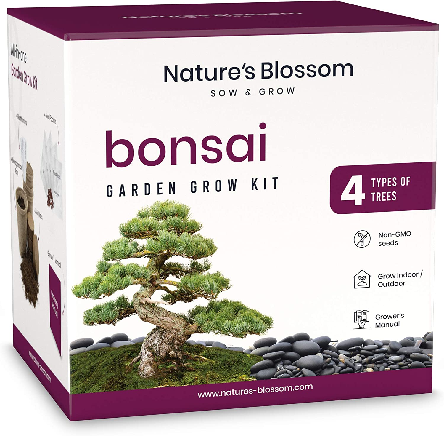 Amazon Com Nature S Blossom Bonsai Tree Seed Starter Kit For Beginner Gardeners A Complete Indoor Growing Set Special Garden Gift Idea For Men And Women Garden Outdoor