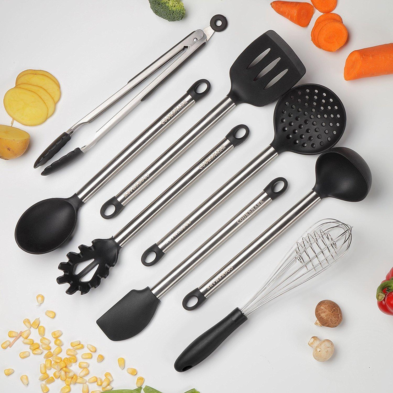 COOKSMARK Kitchen Utensils Set, 8-Piece Nonstick Cooking Utensils Set, Silicone & Stainless Steel Spatula Set, Great Kitchen Tools for Gift, Heat Resistant - Dishwasher Safe