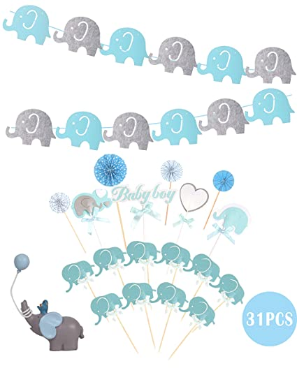 Blue White Grey Baby Boy Baby Shower Decorations Grey Elephant Baby Shower Blue Baby Shower Decorations For Boy Its A Boy Party Decor Cake Topper