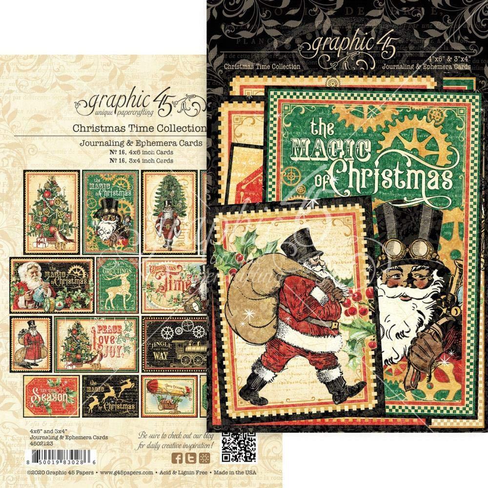 Graphic 45 Christmas Time Ephemera /& Journaling Cards