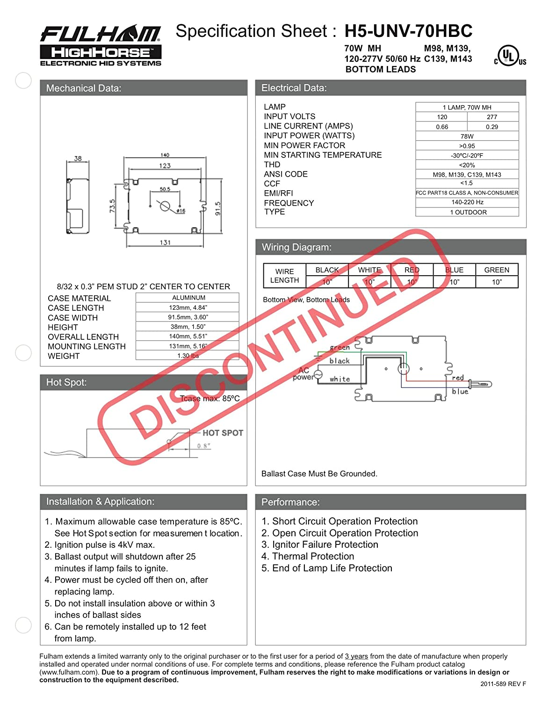 H5-UNV-70HBC Fulham Electronic HID Ballast