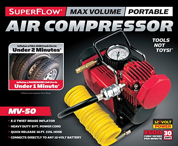 SuperFlow MV-50 is one of the best 12V air compressor tht can be used on both AC and DC power