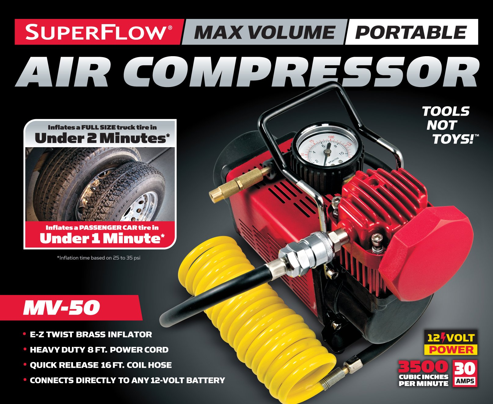 Q Industries 12 Volt Air Compressor, Portable Air Pump, 12 volt, Tire Inflator, MV-50 Air Compressor by SuperFlow for inflating full size 4 x 4, Jeep, truck, SUV and RV Tires by Q Industries (Image #3)