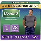 Depend Night Defense Incontinence Underwear for Men, Overnight, Disposable, Large, 28 Count (2 Packs of 14) (Packaging May Va