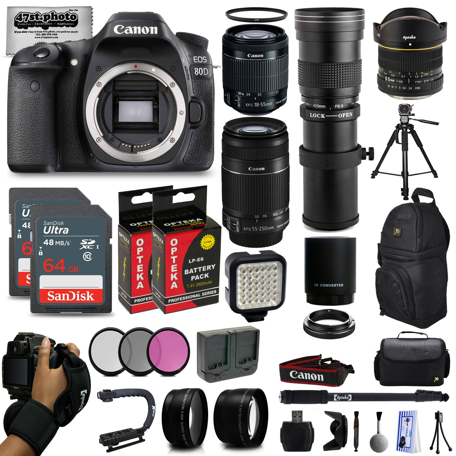 Canon EOS 80D DSLR Digital Camera with EF-S 18-55mm IS STM + 55-250mm STM + 6.5mm Fisheye + 420-800mm Telephoto Lens + 128GB Memory + 2 Extra Batteries + Wide Angle + Telephoto + Backpack + Lens Kit 47th Street Photo