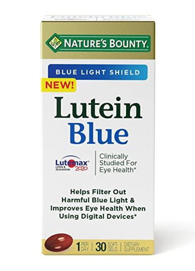 Natures Bounty Lutein Blue Pills, Eye Health Supplements and Vitamins with Vitamin A and Zinc