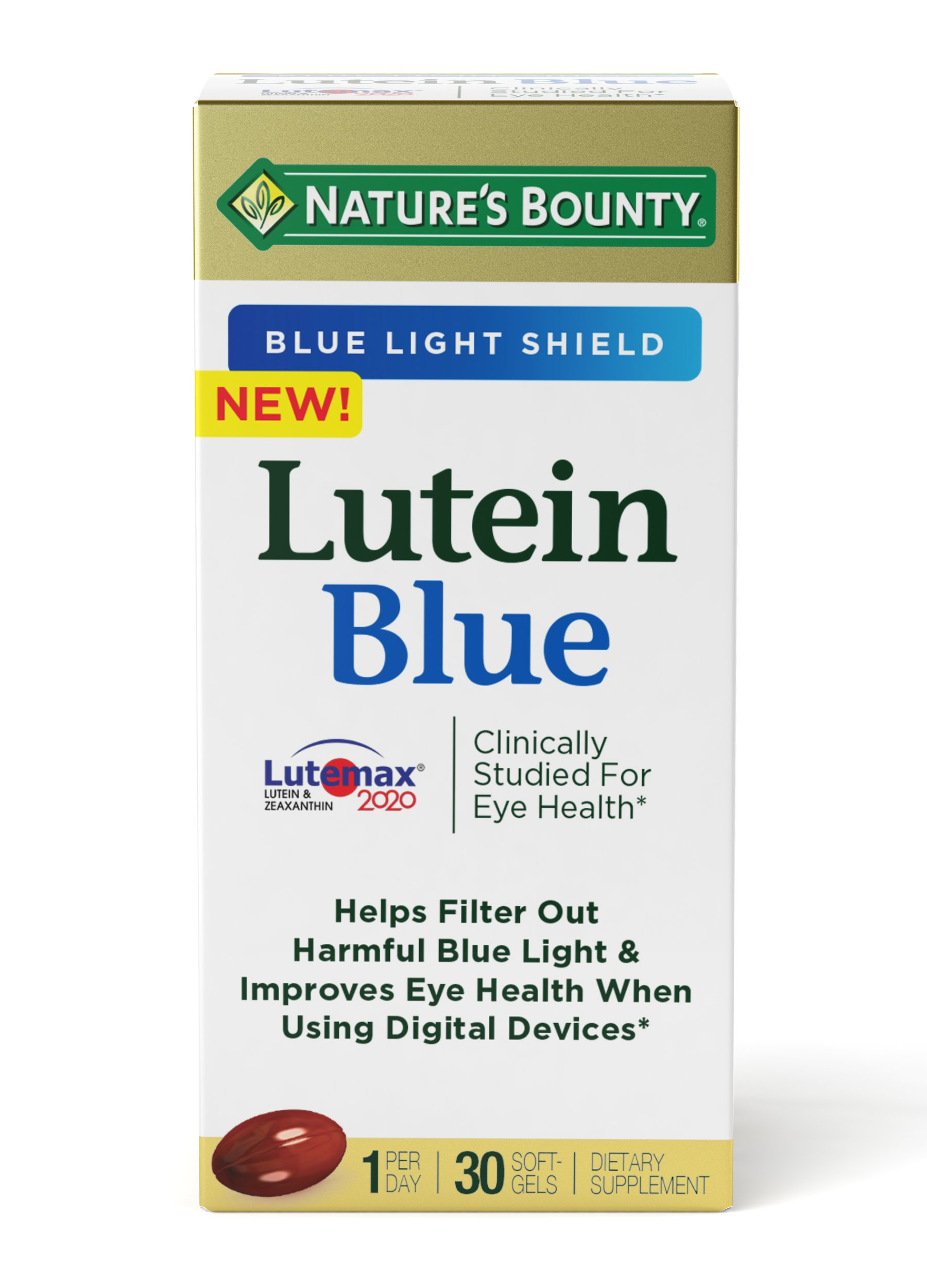 Nature's Bounty Lutein Blue Pills, Eye Health Supplements and Vitamins with Vitamin A and Zinc, Supports Vision Health, 30 Softgels
