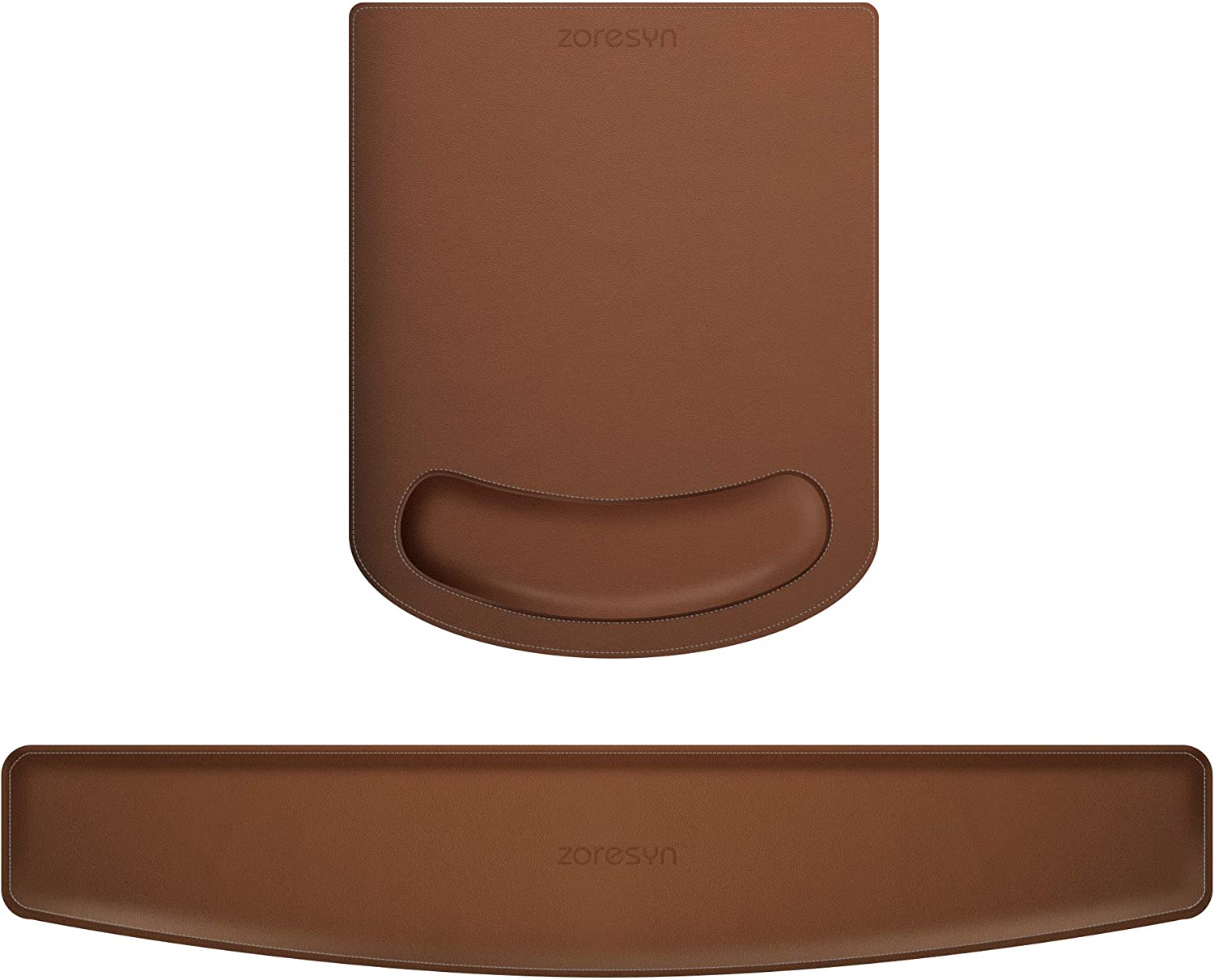 PU Leather Mouse Pads Wrist Rest Support and Keyboard Wrist Rest Pad Set for Laptop Computer Mac,Ergonomic Memory Foam,Non-Slip Base Mouse pad,Easy Typing and Relieve Wrist Pain(Brown)