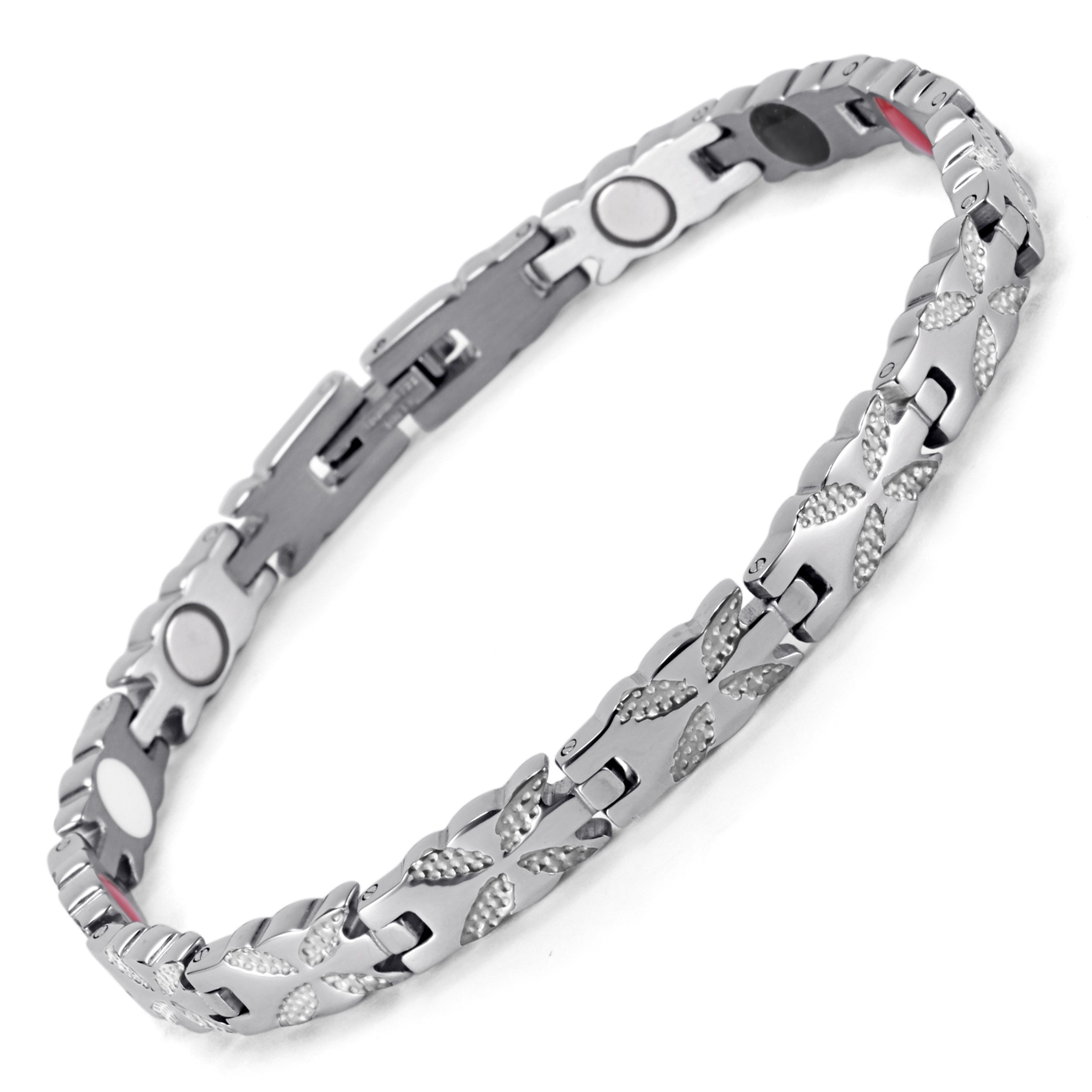 Lifestyle Stainless Steel Magnetic Therapy Bracelet Pain Relief for Arthritis and Carpal Tunnel. Magnets, far infrared, germanium, negative Ion bracelet (silver)