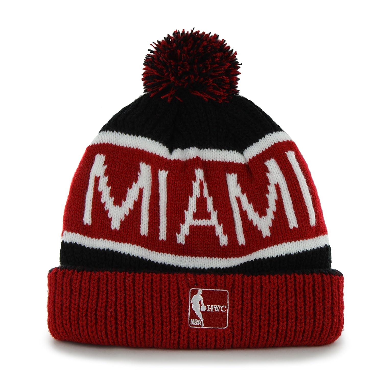 f43c048037c Amazon.com   NBA Miami Heat  47 Brand Calgary Cuff Knit Hat with Pom ...